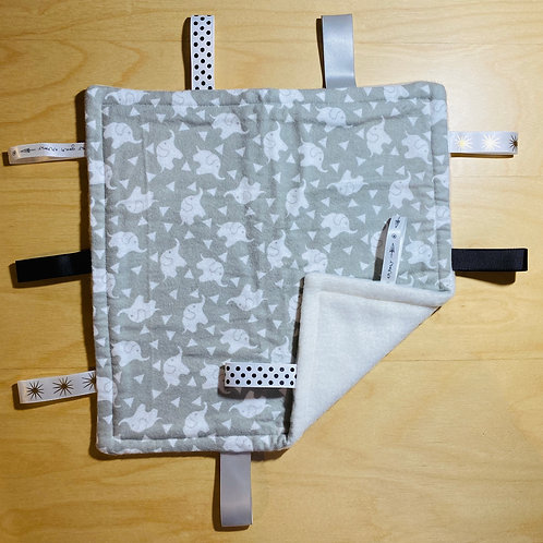 Little Elephants Flannel Taggie (White Fleece Back)