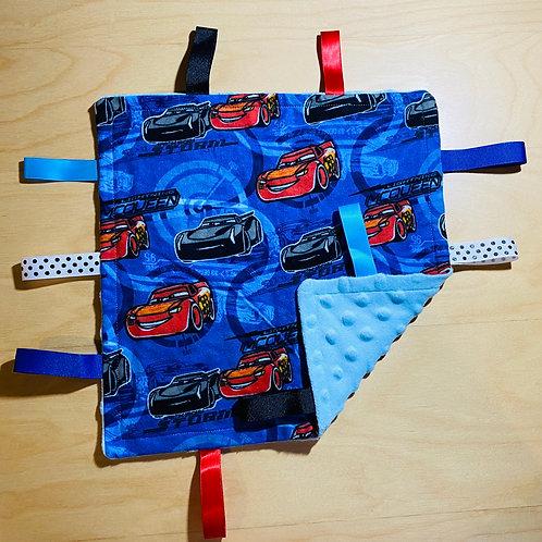 Cars Flannel Taggie (Lt. Blue Dot Minky Back)