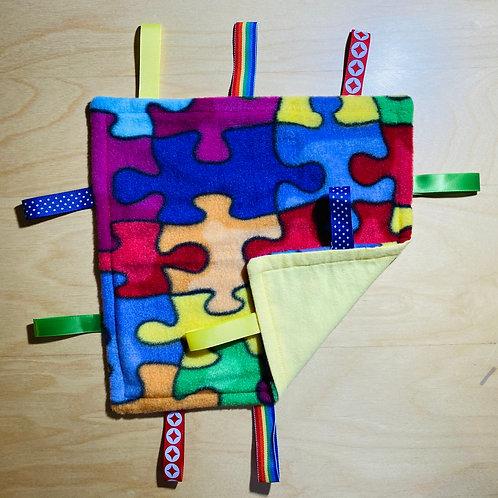 Autism - Raindow Puzzles Fleece Taggie (Yellow Flannel Back)