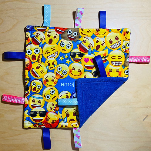 Emoji Smiles Flannel Taggie (Purple Fleece Back)