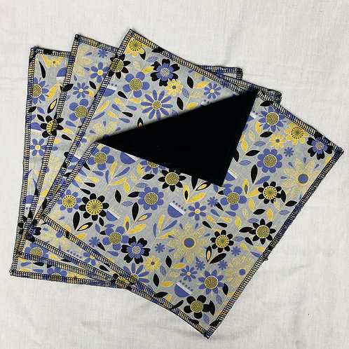 Periwinkle Cosmos  (on Black) Unpaper Towels (4)