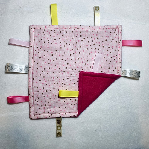 Pink Polka Dots Flannel Taggie (Pink Fleece)