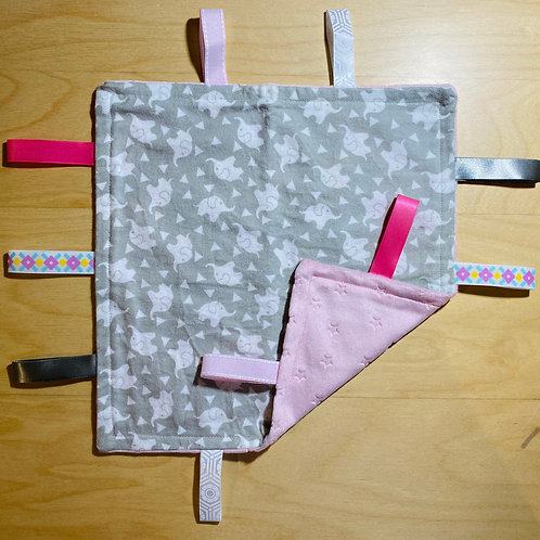 Little Elephants Flannel Taggie (Lt. Pink Minky Stars Back)