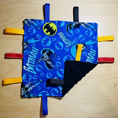 Batman Flannel Taggie (Black Dot Minky Back)