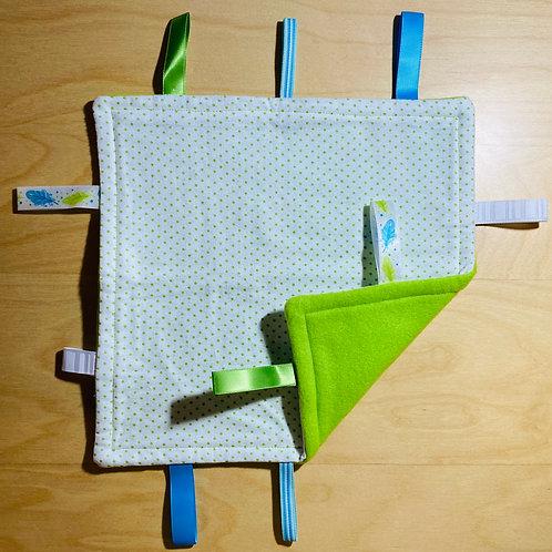 Mini Green Polka Flannel Taggie (Feather Tags)