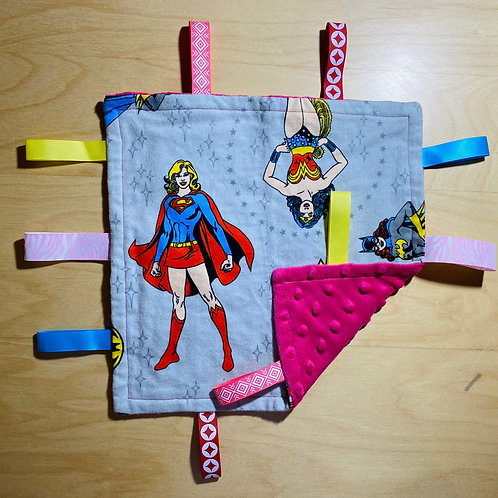 Girl Power Heroes Flannel Taggie (Pink Minky Back)