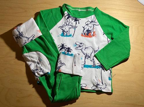 3T Dino Green Raglan & Grow-With-Me Pants