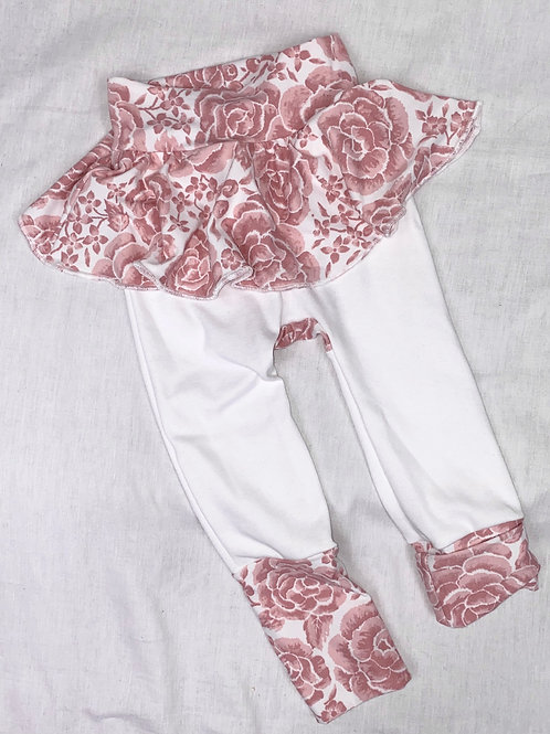 12 mo - 3T Grow-with-Me Pants with a Flounce (Soft Pink Floral on White)
