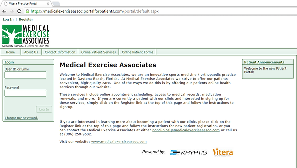 Medical Exercise Associates' Patient Portal.  This portal allows patients to safely acces their personal medical information and to easily complete paperwork online allowing for a more efficient office visit with the physician.