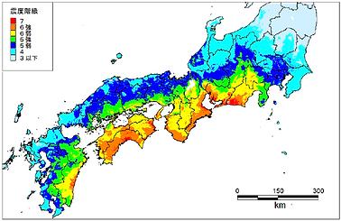 南海トラフ地震_震度予想図