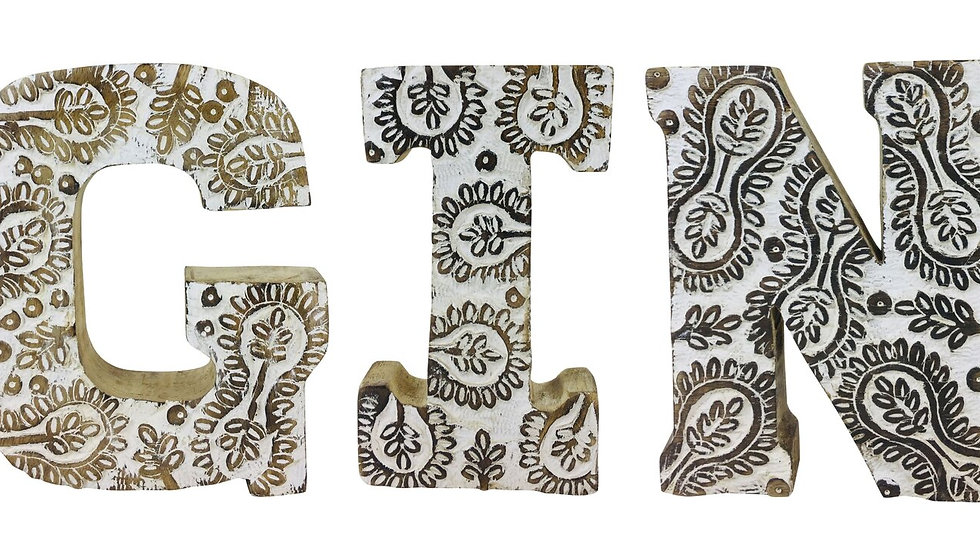 Hand Carved Wooden White Flower Letters Gin