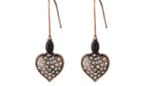 Jewell city heart drop earrings