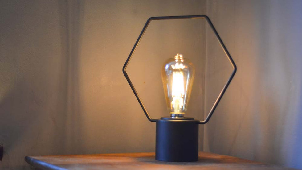 Free Standing Hexagonal Wire Lamp