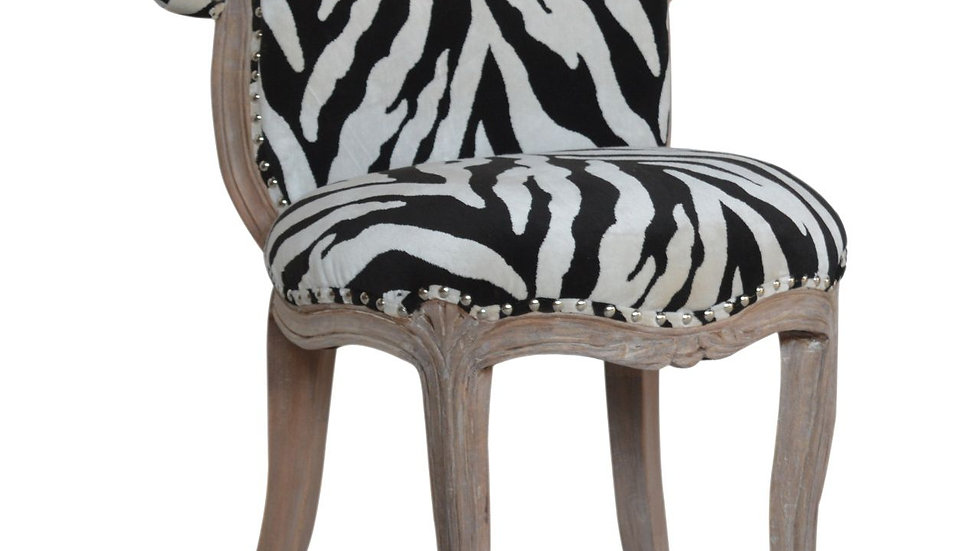 Zebra Printed Studded Chair
