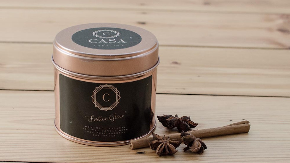 Festive Glow - Soy wax rose gold tin candle