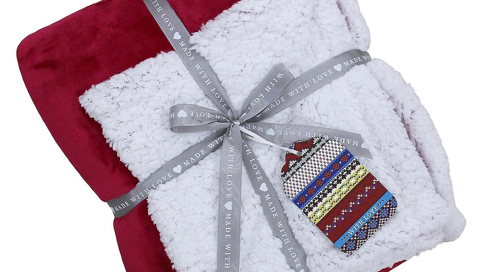 Luxury Sherpa throw - Christmas red