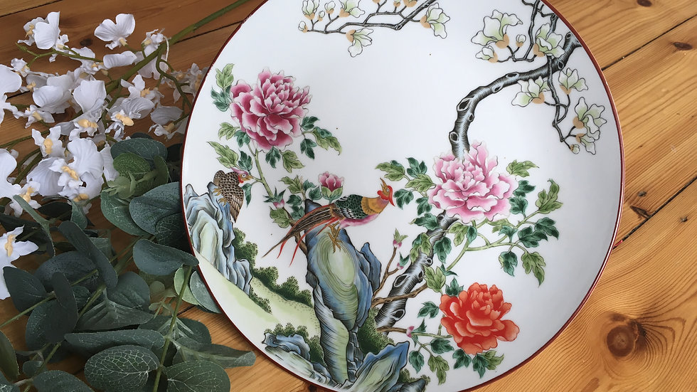 Decorative porcelain pheasant plate