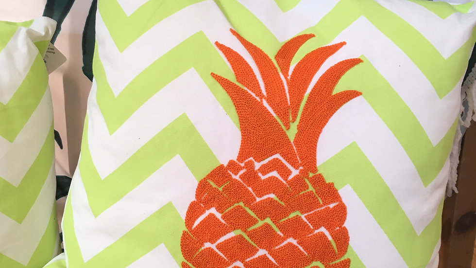 Malibu pineapple stripe cushion