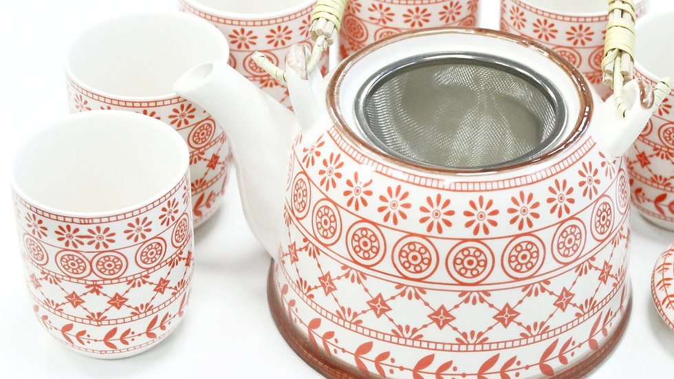 Herbal Tea Pot and six cups - Amber Pattern