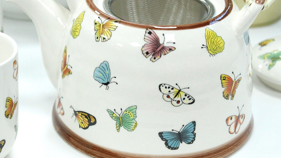 Herbal Tea Pot and six cups - Butterfly