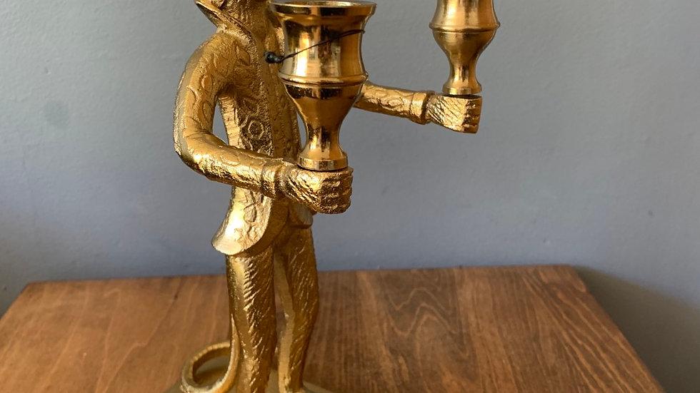 Gold monkey candelabra