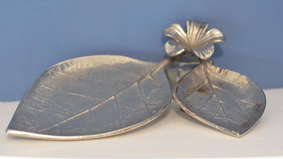 Metal Leaf & Flower Tray Ornament 31cm