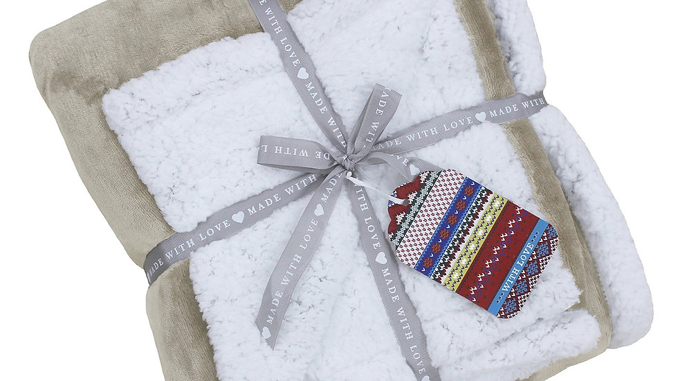 Luxury Sherpa throw in natural