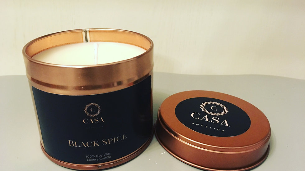Black Spice Soy wax candle rose gold tin