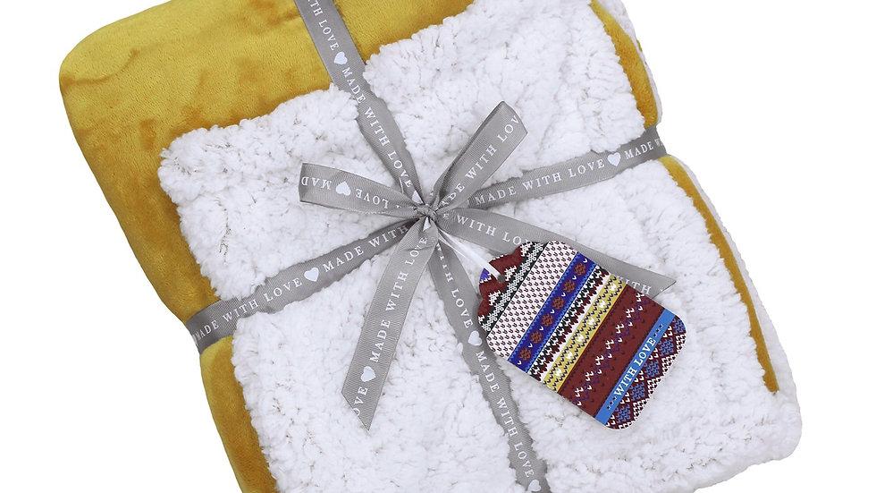 Luxury Sherpa throw in ochre