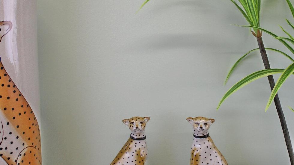 Set of 2 Ceramic Crackle Glaze Leopard Ornamentss
