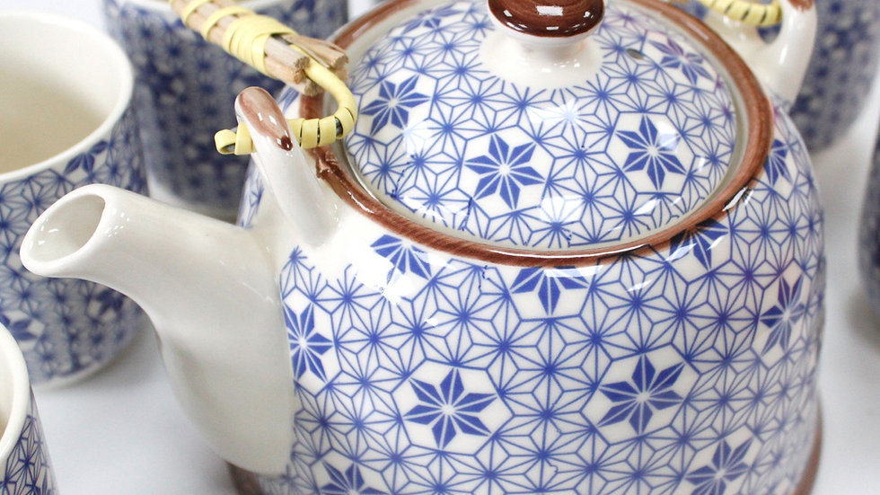 Herbal Teapot with sux cups - Blue Star