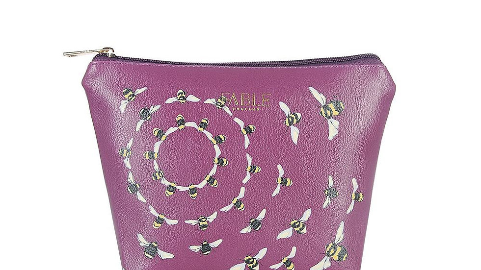 Fable bee design plum make up bag
