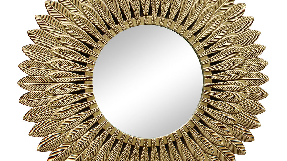 Large Gold Feather Design Mirror
