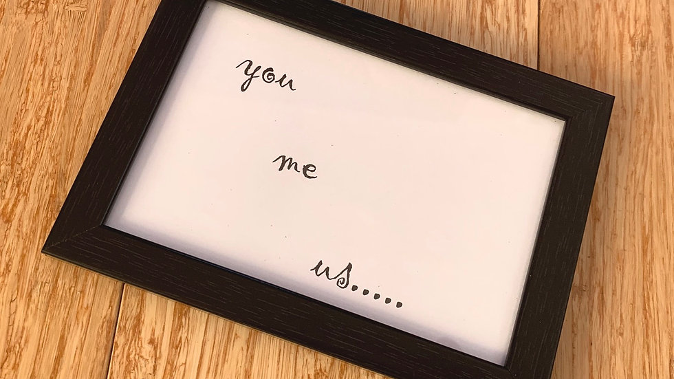 "6 x 4"" black framed word art - You Me Us"