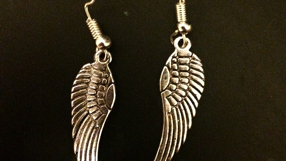 Pair of angel wing silver earrings