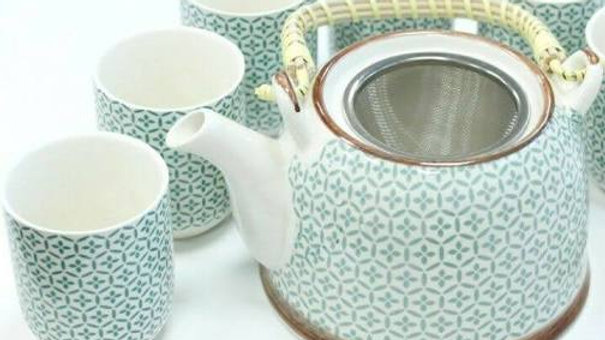 Herbal Teapot with sux cups - Green Mosaic design
