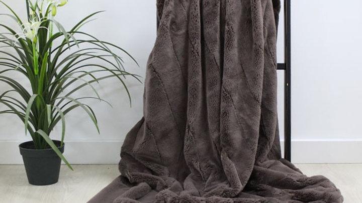 Empress luxury taupe faux fur throw