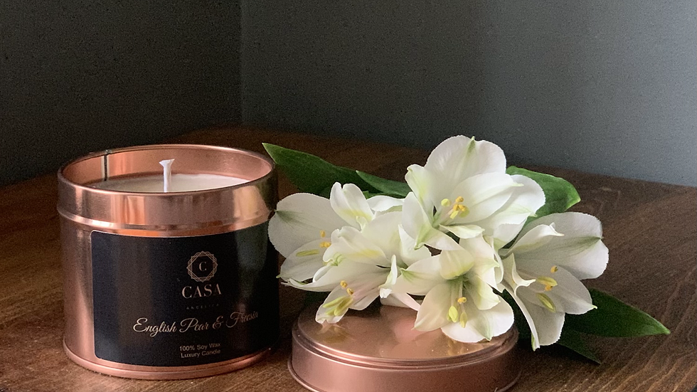 Soy wax candle rose gold tin