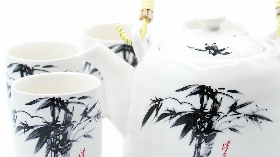 Herbal Tea Pot and six cups - Oriental