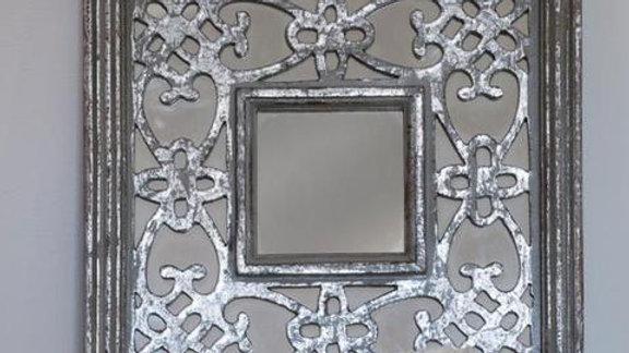 Silver/grey Moroccan decorative mirror