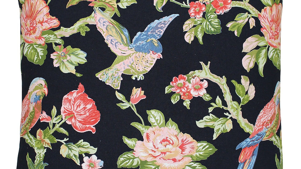 Black floral parrot cushion