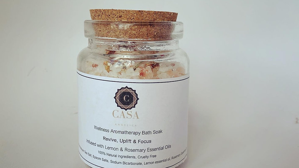 Wellness Aromatherapy Massage Candle & Bath Salt. Rosemary & Lemon.