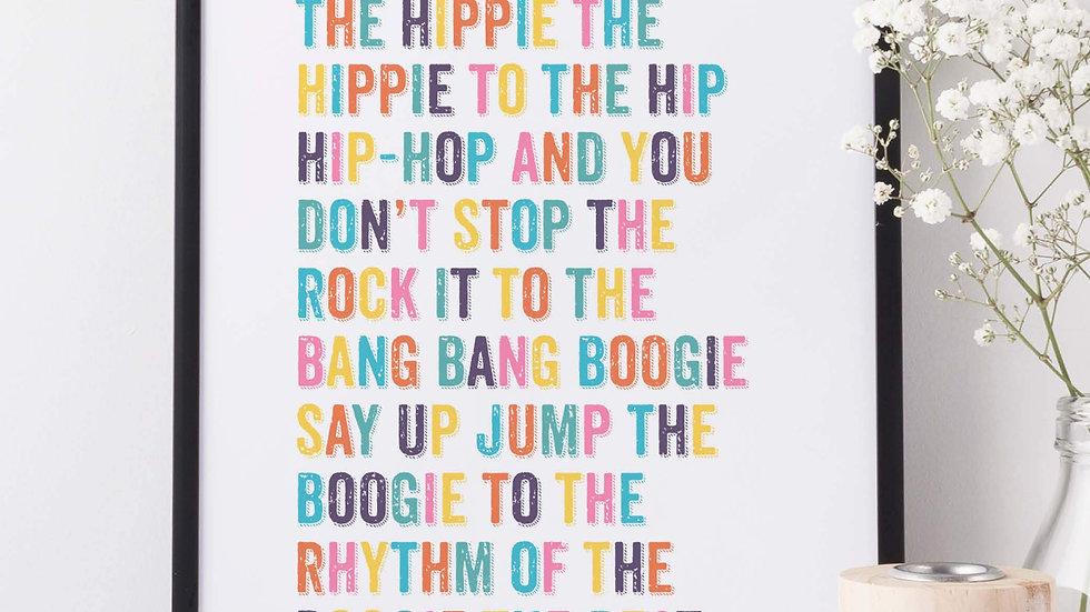 Hip Hop Lyric Print - Rappers Delight Sugarhill Gang