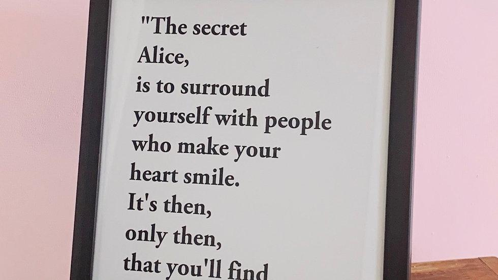 "Black framed art print 10x8"" 'Alice'"