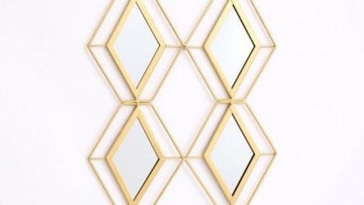 Geometric gold diamond mirror