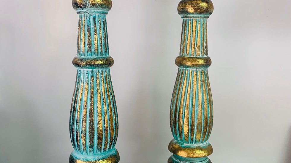 Large turquoise gold wooden candle holder