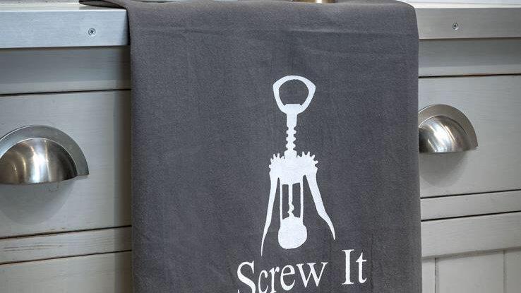 "Flour sacking quirky tea towel ""screw it"""