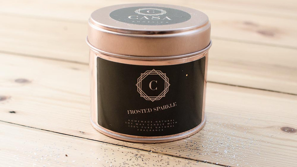Frosted Sparkle soy wax candle - rose gold tin