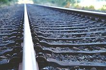 鉄道トラックがクローズアップ