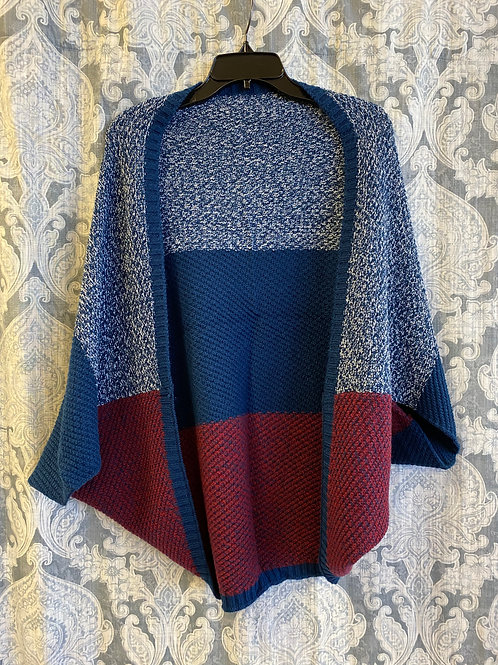 Blue and Burgundy Shrug